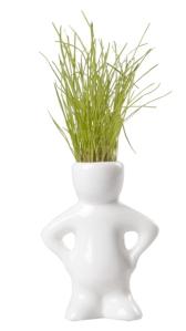 Figurine en céramique avec chevelure végétale